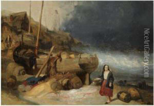Fisherfolk By A Beached Vessel Oil Painting - Wijnandus Johannes Josephus Nuijen