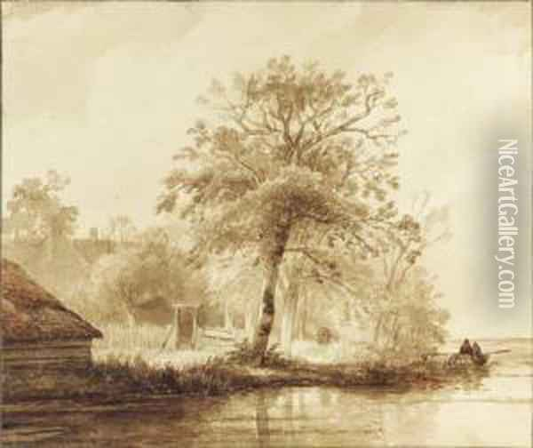 A Farm Among Trees By A Pond, Fishermen In A Boat Nearby Oil Painting - Wijnandus Johannes Josephus Nuijen