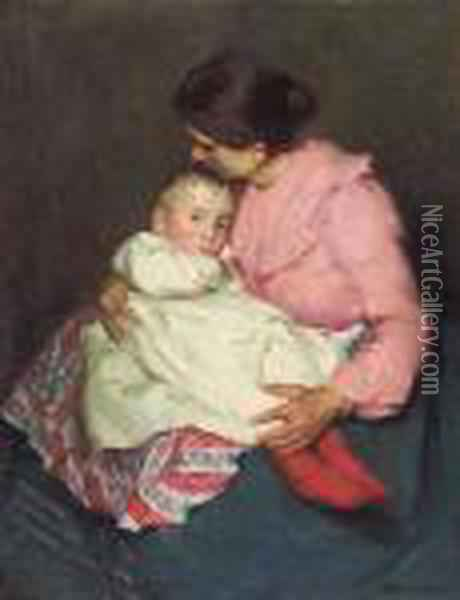 Mother And Child Oil Painting - sandor Nyilasy