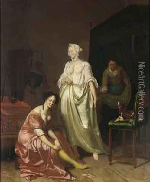 An Interior With Two Elegant Ladies Making Their Toilet 