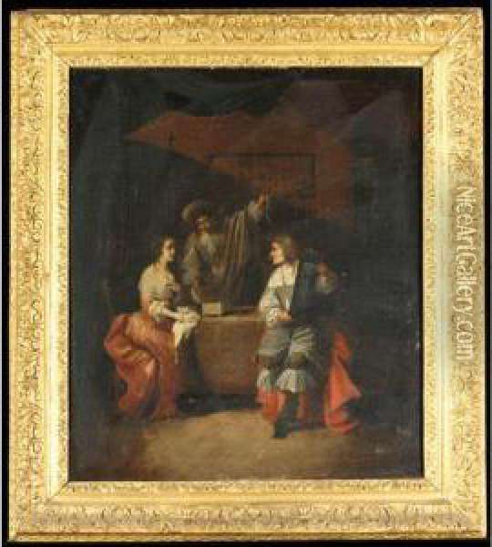 A Lady And Two Gentleman In An Interior, Examining Jewellery Oil Painting - Jacob Ochtervelt