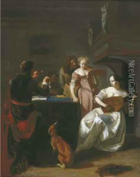 A Musical Party In An Interior Oil Painting - Jacob Ochtervelt
