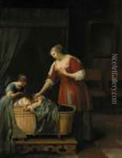 A Mother Watching Over Her Sleeping Baby, With Her Sister, In An Interior Oil Painting - Jacob Ochtervelt