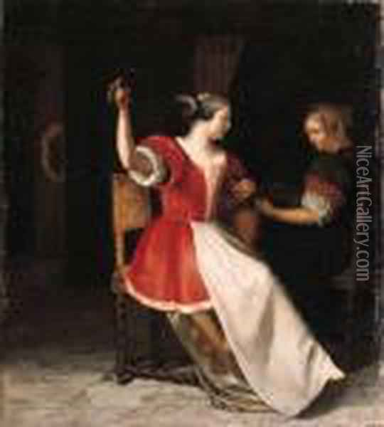 Women Playing The Lute And The Violin In An Interior Oil Painting - Jacob Ochtervelt