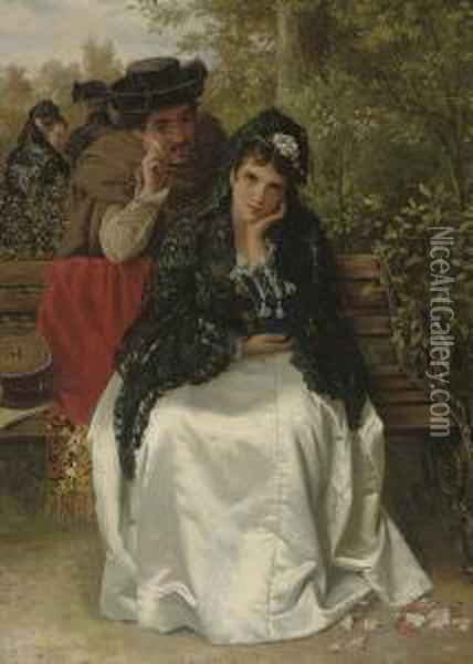 Spanish Lovers Oil Painting - William Oliver