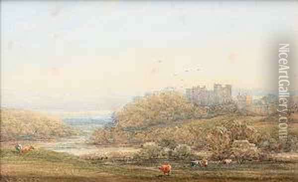 Figures On A Country Path By A  Castle, Together With Another Of A River Landscape With Castle And  Cattle Grazing, Possibly Alnwick Castle, (2) Oil Painting - James Orrock
