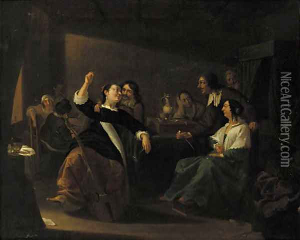 Officers drinking and smoking in a brothel Oil Painting - Jacob Duck