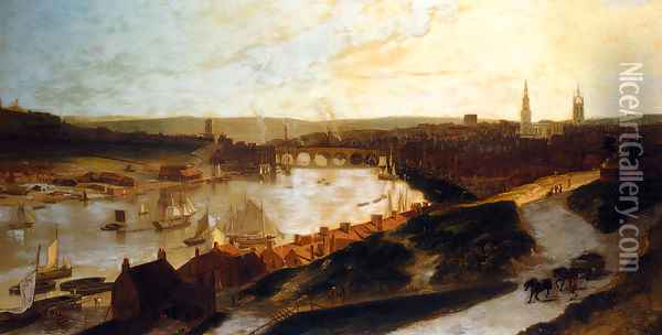 View Of Newcastle On The River Tyne From St Ann's Oil Painting - William Daniell RA