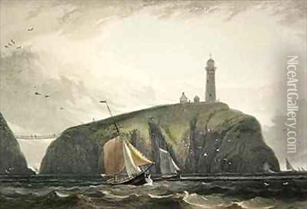 Lighthouse on the South Stack Holyhead Oil Painting - William Daniell RA