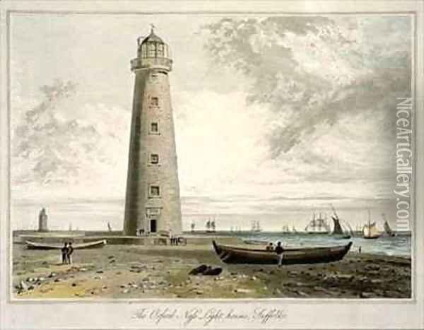 The Orford Nefs Lighthouses Suffolk Oil Painting - William Daniell RA