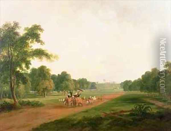 A Hunting Party in India Oil Painting - William Daniell RA