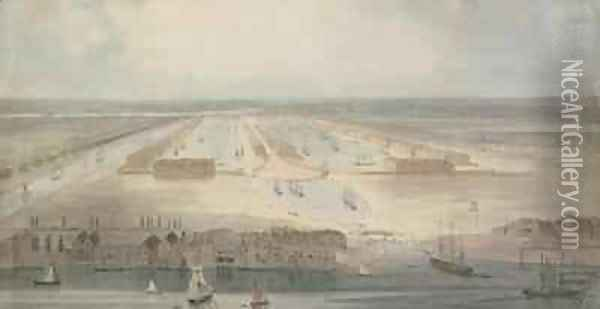 The New Docks Isle of Dogs Oil Painting - William Daniell RA