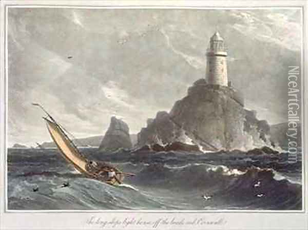 The longships lighthouse of Lands End Cornwall Oil Painting - William Daniell RA