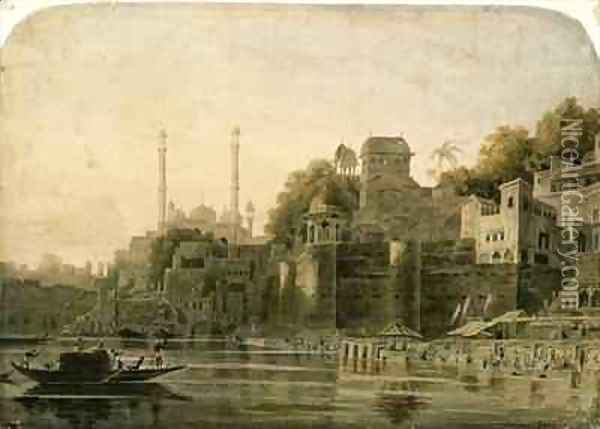 Bathing Scene at the Ghat on the Ganges Oil Painting - William Daniell RA