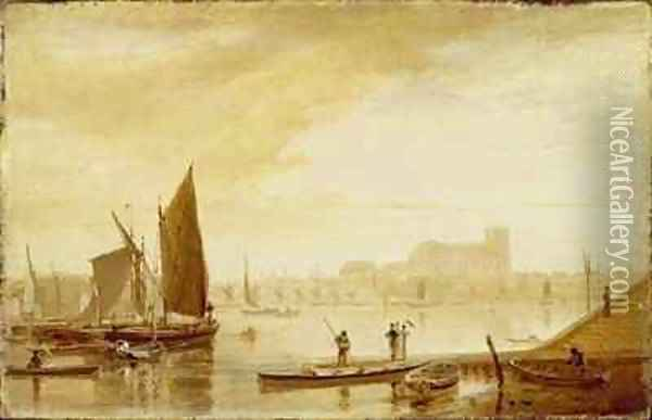 Westminster Bridge and Abbey Oil Painting - William Daniell RA