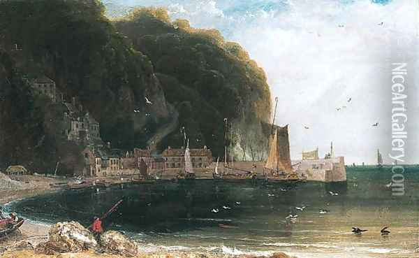 Clovelly in the Bristol Channel Oil Painting - William Daniell RA