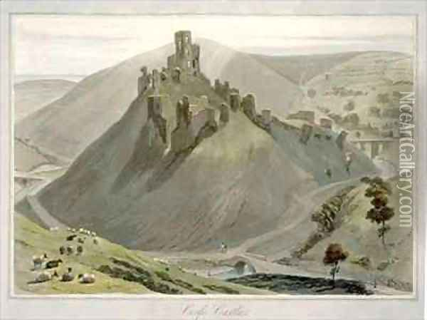 Corfe Castle Oil Painting - William Daniell RA