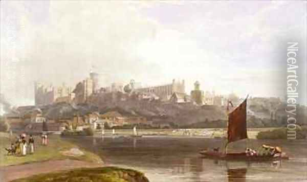 Windsor Castle from the River Meadow on the Thames Oil Painting - William Daniell RA