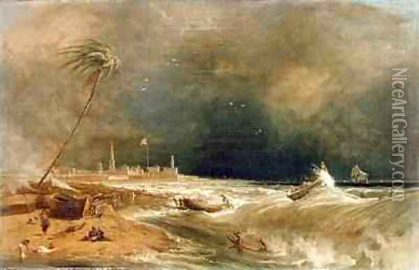 Madras or Fort St George in the Bay of Bengal A Squall Passing Off Oil Painting - William Daniell RA