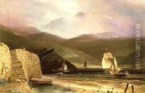 View of Arran With Sailing Vessels In A Squall Oil Painting - William Daniell RA
