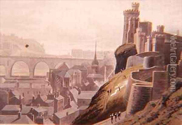 Edinburgh with part of the North Bridge and Castle Oil Painting - William Daniell RA
