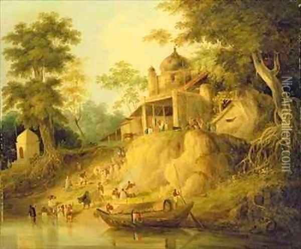 The Banks of the Ganges Oil Painting - William Daniell RA