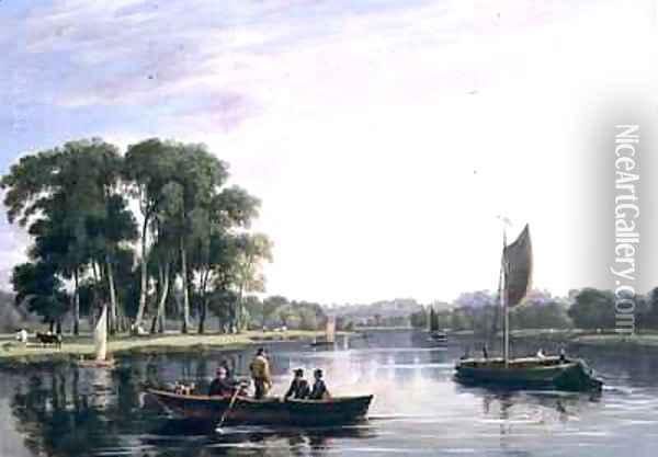 View on the Thames at Richmond Oil Painting - William Daniell RA