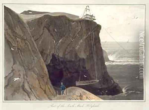 Letting down a boat from the platform at Holyhead Oil Painting - William Daniell RA