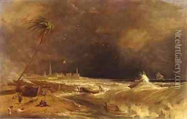 Madras or Fort St George in the Bay of Bengal A Squall Passing Off 2 Oil Painting - William Daniell RA