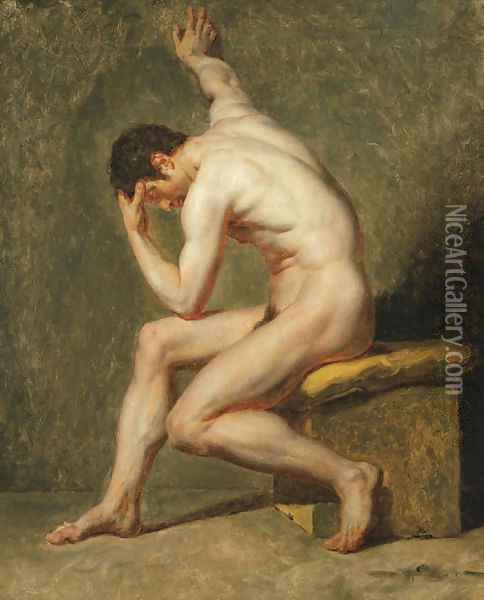 A seated male nude in contrapposto Oil Painting - Jean-Germain Drouais