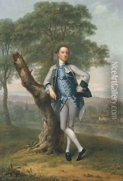 Portrait of Thomas Bateman Lane (b. 1735), small full-length, in a grey suit with a blue waistcoat, holding a tricorn in his left hand Oil Painting - Arthur Devis