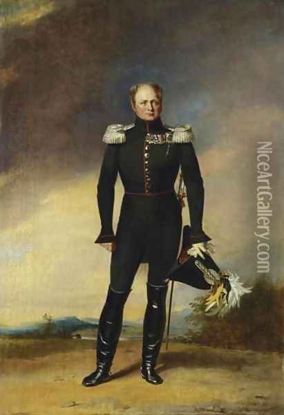 Portrait of Tsar Alexander I in the Uniform of the Preobrazhensky Guards Oil Painting - George Dawe