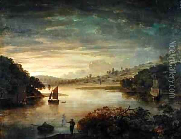 A View on the River Neath in Glamorganshire Oil Painting - Anthony Devis