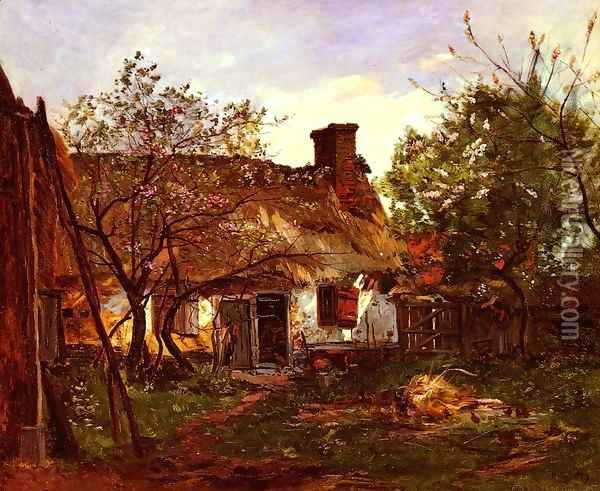 La Chaumiere A Berneval (Thatched Cottage in Berneval) Oil Painting - Hippolyte Camille Delpy