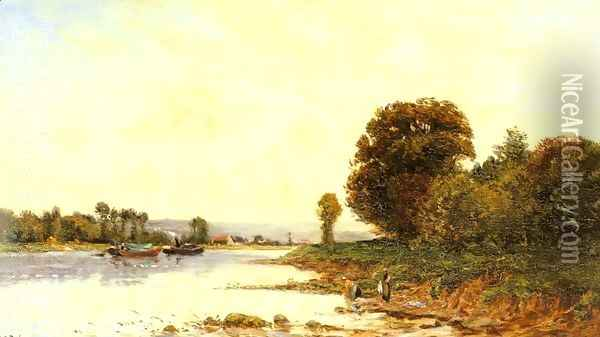 Washerwomen in a River Lanscape with Steamboats beyond Oil Painting - Hippolyte Camille Delpy