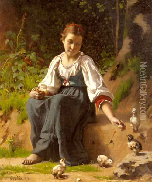 A Young Girl feeding Baby Chicks Oil Painting - Francois Alfred Delobbe
