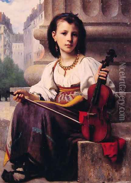 The Young Musician Oil Painting - Francois Alfred Delobbe
