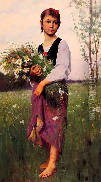 The Flower Picker Oil Painting - Francois Alfred Delobbe