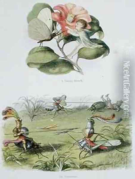 A Dancing Butterfly and The Tournament Oil Painting - Richard Doyle