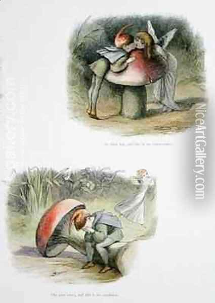 He finds her and this is the consequence and She runs away and this is his condition Oil Painting - Richard Doyle