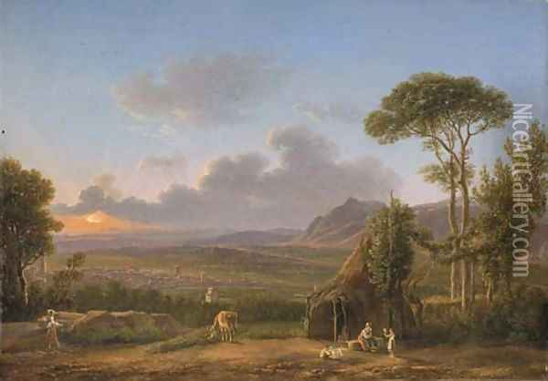 An extensive Italianate landscape at sunset, with a peasant family by a hut Oil Painting - Simon-Joseph-Alexandre-Clement Denis