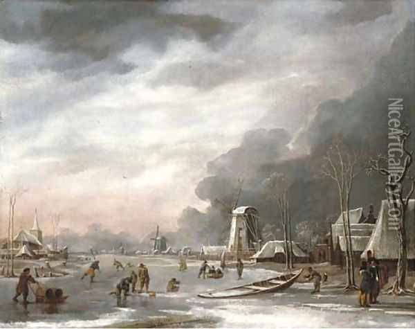 A winter landscape with villagers sledging on a frozen lake, a church beyond Oil Painting - Hendrik Jakobsz. Dubbels