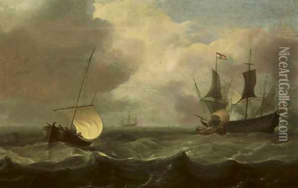 Sailing vessels in a stiff breeze with a man o'war firing a salute Oil Painting - Hendrik Jakobsz. Dubbels