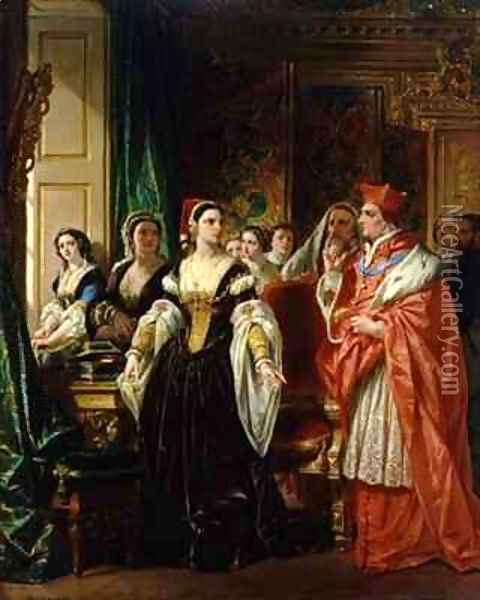 A Scene from Shakespeares Henry VIII Cardinal Wolsey and Katherine of Aragon Oil Painting - Eugene Francois Marie Joseph Deveria