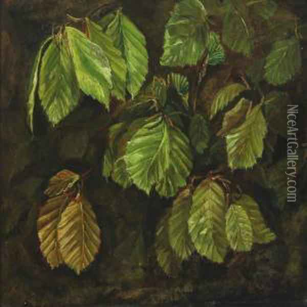 Beech Leaves Oil Painting - Otto Didrik Ottesen