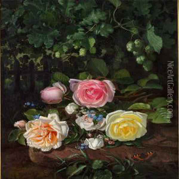Roses And Hop Branches Oil Painting - Otto Didrik Ottesen