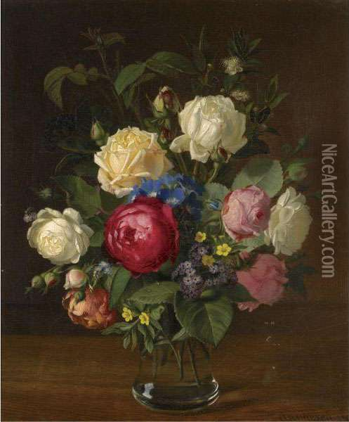 Still Life Med Blomster (still Life With Flowers) Oil Painting - Otto Didrik Ottesen