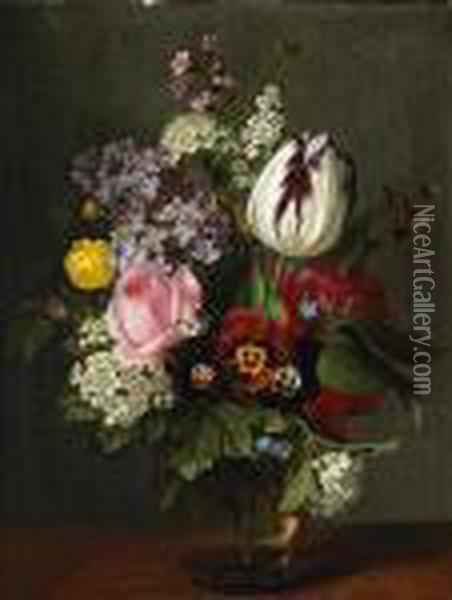 A Still Life With A Rose, A Tulip, Pansies And Other Flowers In A Glass Vase Oil Painting - Otto Didrik Ottesen