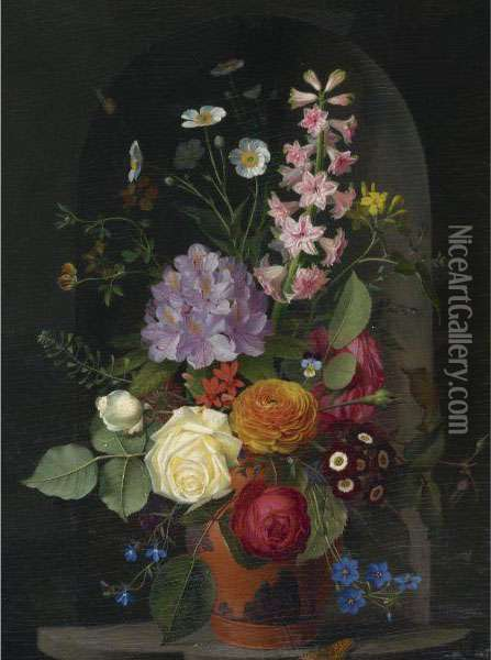 A Bouquet In A Wedgwood Rosso Antico Vase, Set In A Niche Oil Painting - Otto Didrik Ottesen