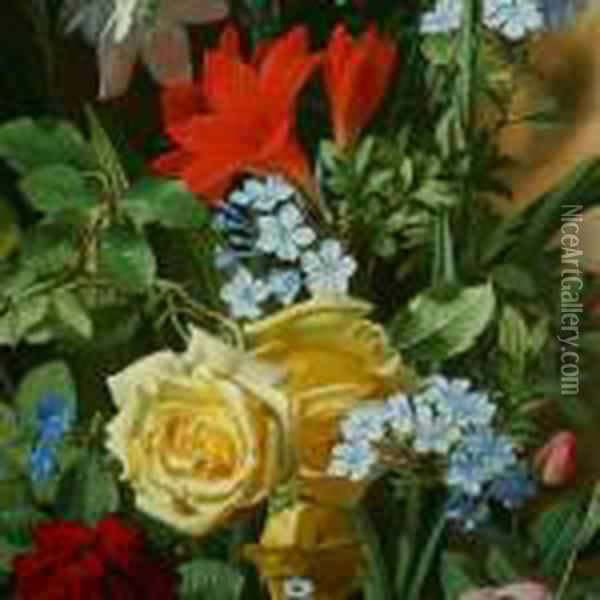 A Group Of Flowers Oil Painting - Otto Didrik Ottesen